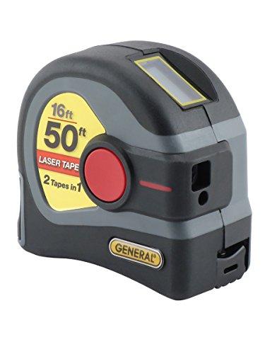 General Tools LTM1 2-in-1 Laser Tape Measure, LCD Digital Display, 50' Laser Measure, 16' Tape Measure, Gray
