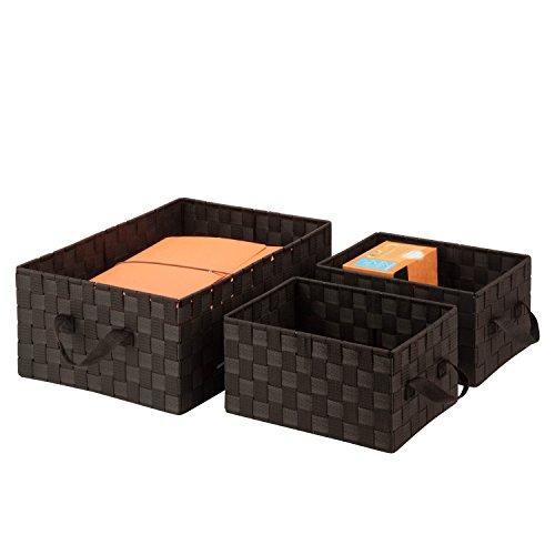 Honey-Can-Do OFC-03697 - Kit organizer per uso generico con manici, colore: Marrone espresso, confezione da 3