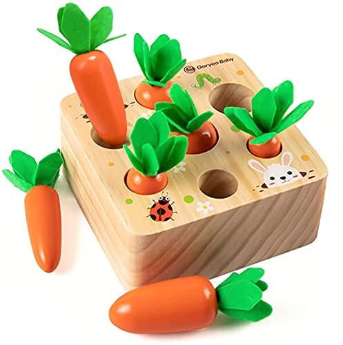 GLOBAL IGO. Holzspielzeug für 1 2 3 Year Old Boys Mädchen Sorting Spiel 12 Monate Baby Holzpuzzle Educational Montessori Karotten Spielzeug Motorik Spielzeug erste Geburtstags-Geschenk für Baby-Kleink