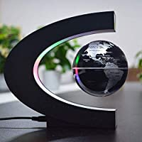 LEDライト誕生日ギフトデコレーションホームオフィスホームナイトライトとグローブ世界地図をフローティング4インチのC形状の電子磁気浮上,金,Black 地球儀 レイメイ