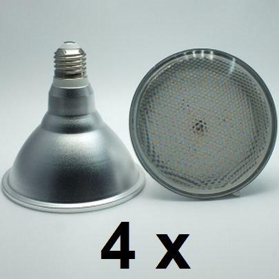 4 x 18 Watt PAR 38 LED Lampe, Strahler, Fassung E27, Lichtfarbe warmweiß 2700 Kelvin, 1500 Lumen entspricht ca. 120 Watt Glühlampe, 120° Ausstrahlwinkel. Schutzklasse IP44 für Innen und Außen