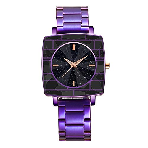 DSDBD Plaza del Reloj Relojes Unisex De Las Señoras De Cuarzo Vestido Moda De Las Mujeres del Reloj del Dial (Color : Purple)