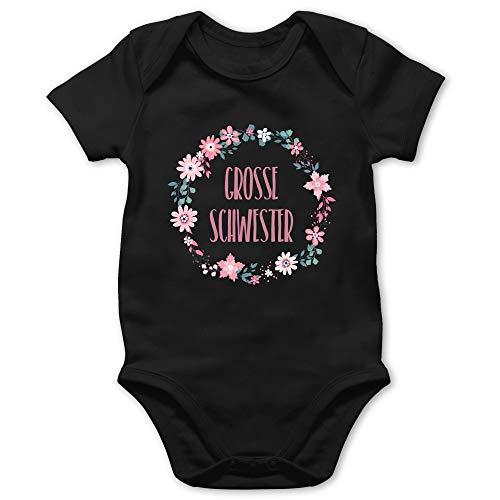 Shirtracer Geschwisterliebe Baby - Große Schwester Blumen - 12/18 Monate - Schwarz - babygeschenke große Schwester - BZ10 - Baby Body Kurzarm für Jungen und Mädchen