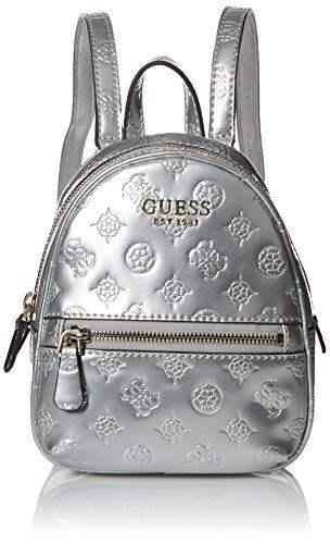 Guess Damen Peony Shine Micro Mini Backpack Rucksack, silber, Einheitsgröße
