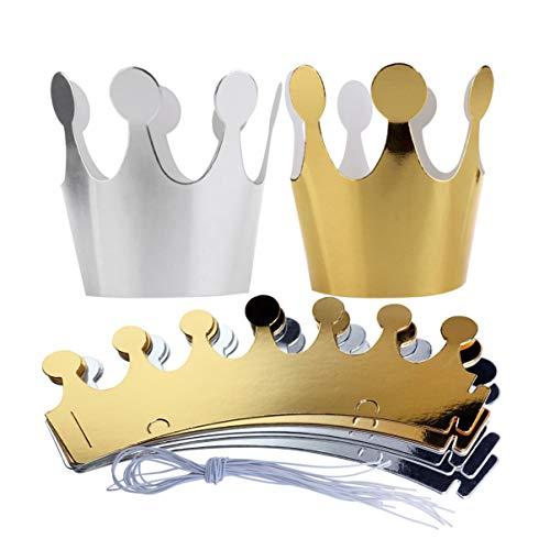 Corone di carta, per feste, bambini, colori argento e oro, 10 pezzi