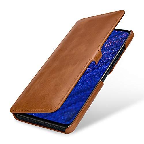 StilGut Lederhülle für Huawei Mate 20 Book Type, Cognac mit Clip