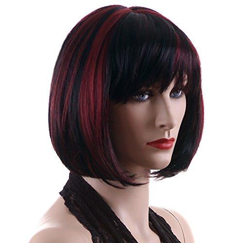 SONGMICS Perücke Haar Wigs Weiblich Schwarz+rot Glatt Kurz für Karneval Cosplay Halloween WFY099