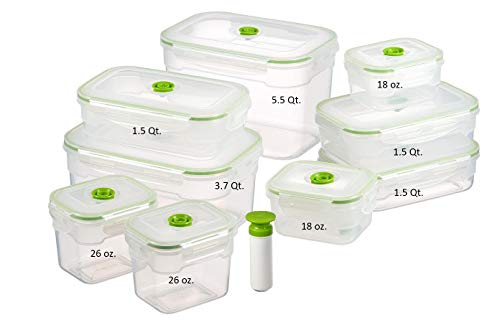 Lasting Freshness 19 pc Rectangular Vacuum Seal Food Storage Container Set (in Green)