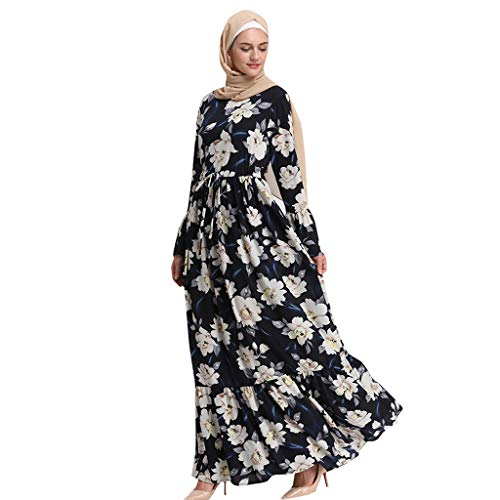 Lazzboy Moslemische Frauen-Lange Maxi-Kleid-Robe Abaya Islamische Blume-Dubai-Strickjacke Ramadan Muslimische Langarm Frauen-langes Maxi-Kleid Kleidung Dubai Patchwork Kleider Muslime(2XL)