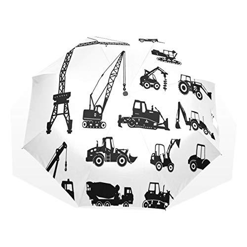 LASINSU Regenschirm,Schwarz Silhouetten Betonmischer Maschinen Industrie Set Trucks Traktoren,Faltbar Kompakt Sonnenschirm UV-Schutz Winddicht Regenschirm