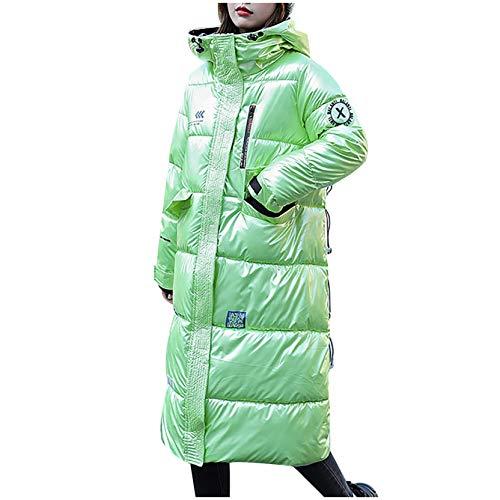 Damen Winter warme Daunenmantel, Winddicht Atmungsaktiv Parka Stepp Mantel Lang Coat, Frau Plüschjacke Winterparka Outdoorjacke mit Taschen und Kapuze (Grün, M)
