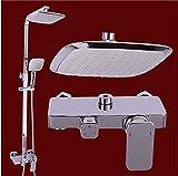 BXU-BG Rainshower mezclador de color blanco chapa de madera Set 8 'grifos de cobre, montado en la pared de una boquilla cuadrada Cascada conjunto de ducha, fácil de instalar soporte de la ducha (color