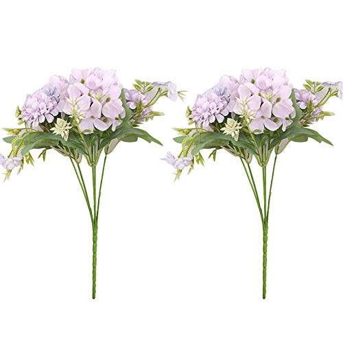 Eamoney 2Pcs Artificial Flowers Flocked Fake Plants, Fake Flowers Home Shop Cafe Wedding Banquet Partyfor Home Wedding Christmas Party Office Indoor Table- Purple