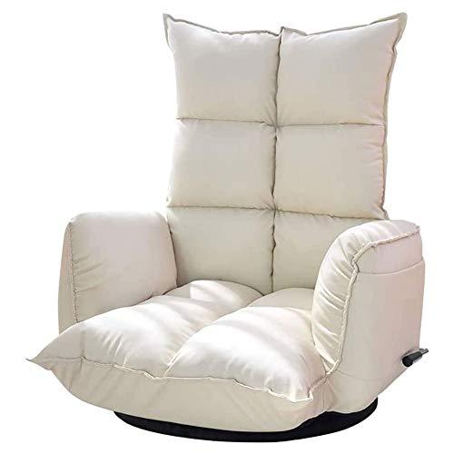 Indoor Chaise Lounge Sofa, Klappsofa Lazy Sofa Bodenstuhl , 360 ° drehbares Armlehnen-Sofa, Rückenlehne 14-Gang-Verstellung, Bodenlehne Schlafzimmer Balkon Rückenlehne Stuhl