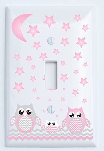 Grey and Pink Owl Light Switch Plate Covers Single Toggle/Owl Nursery Decor