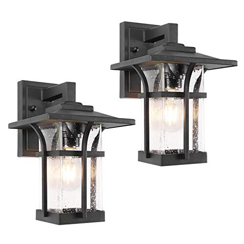 Wall Sconce for Porch , Outdoor Wall Porch Light ,Patio, Deck and More, E26 Socket(Bulb NOT Included), Suitable for Wet Location, Black Powder Coat Cast Aluminum with Beveled Glass(2pack)