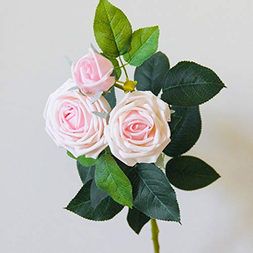 FDQNDXF 10 Pcs Artificial Flowers Rose, 30 Heads Moisturizing Cloth Rose Bouquets with Leaf and Plastic Stem, for Home Wedding Party Mother's Day Garden Hotel Decoration,F