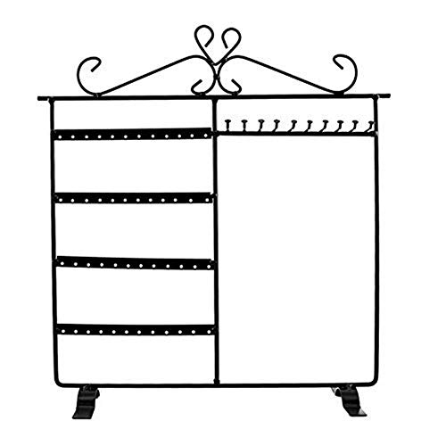 Soporte para aretes Organizador de joyas Colgador de collares Soporte de pared Estante Exhibición clásica negra (Color: Negro, Tamaño: 12.5'W x 13.5' H)