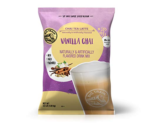 Big Train Vanilla Chai Tea Latte, 56 Ounce Powdered Instant Chai Tea Latte Mix, Spiced Black Tea with Milk, For Home, Café, Coffee Shop, Restaurant Use