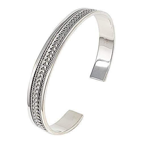 TreasureBay Bracelet jonc pour homme en argent sterling 925 massif 10 mm