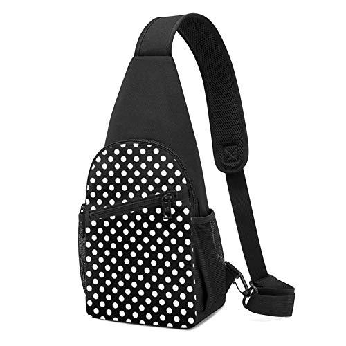 Sling Bag für Herren Anti-Diebstahl Schulterrucksack Leichte Crossbody Outdoor & Gym, Blau - Weiß, Schwarz, gepunktet, Schwarz - Größe: Einheitsgröße