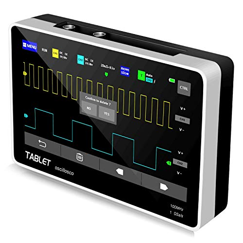"""YEAPOOK ADS1013D Handheld Digital Tablet oscilloscope Portable Storage Oscilloscope Kit with 2 Channels, 100Mhz Bandwidth, 1GSa/s Sampling Rate 7"""" TFT LCD Touch Screen (ADS1013D Plus)"""