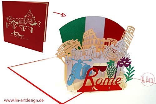 LIN17630, Pop Up Karte Rom, Italien Reisegutschein, Pop Up Karte Italien, POP UP Karten Geburtstag, Pop Up Geburtstagskarte, Geschenkgutschein Städtetrip Grußkarten Italien Rome, N363