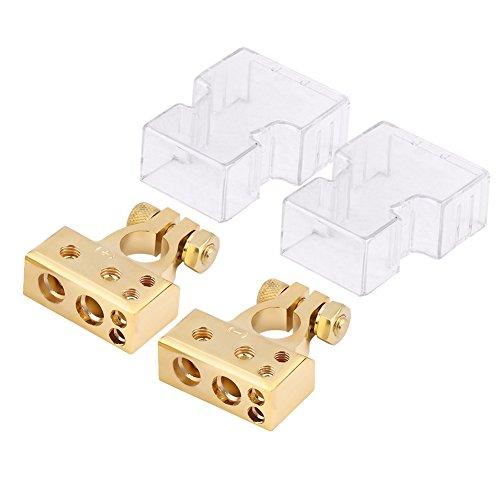 Connettore Morsetto Positivo Negativo della Batteria Morsetto con Coperchio di Protezione per 0/1 2 4 8 Manometro AWG(Oro)