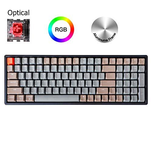 Keychron K4 Wireless Bluetooth/USB Wired Gaming Mechanical Keyboard, Compact 100 Keys RGB LED Backlit Optical Red Switch N-Key Rollover, Aluminum Frame for Mac Windows