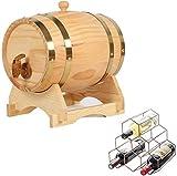 Barril de Madera, Roble envejecido barril 5l, decoración del hogar Barril de vino con estante de botella adecuado para almacenar todo tipo de espíritus, miel, vinagre de vino, cerveza, sidra, whisky