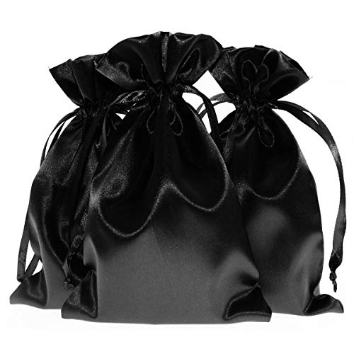 """Knitial 50 Pack 5"""" x 8"""" Inch Satin Black Gift Bags, Jewelry Bags, Wedding Favor Drawstring Bags Baby Shower Christmas Gift Bags 50 per Pack"""