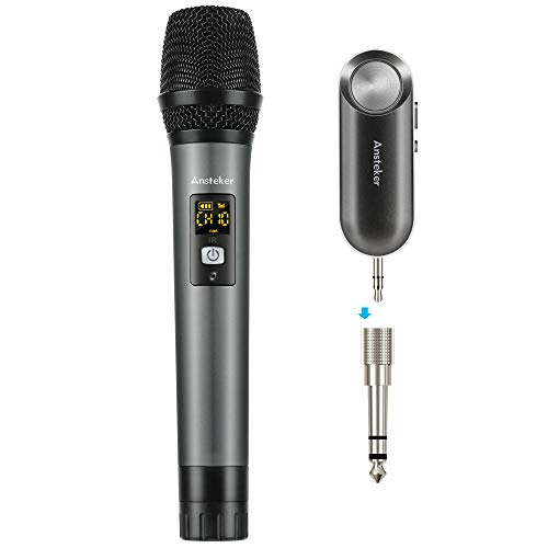 Handheld Wireless Microphone Ansteker UHF Mini Bluetooth Receiver 3.5mm and 6.5mm Output for...
