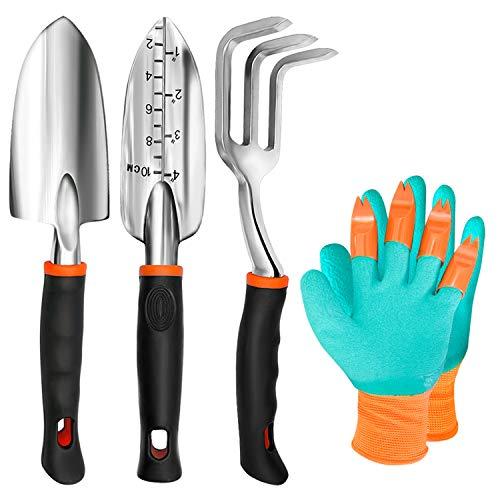 TYHJOY Gartenwerkzeug-Set, 4 Stück, robuste Aluminium-Gartenkelle, Kultivator, Handrechen, Schaufeln und Handschuhe, Gartengeschenke