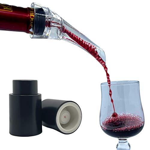 Malowine Aireador de vino, decantador, boquilla antigoteo, accesorio degustación de alta calidad, aireación del vino en botella + 2 tapones para vaciar el aire, tapón bomba de vacío, conservación vino