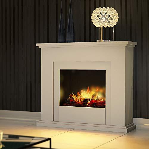bergamo Chimenea eléctrica Opti-Myst de Genua, con calefacción y madera decorativa, color blanco