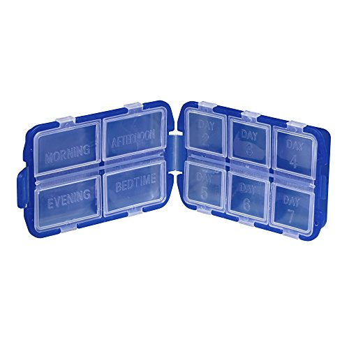 Lewis N. Clark Folding Pill Organizer Supplement Case for OTC Medicine,Prescription and Vitamins, 8 Day Box, Blue