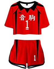 PandaOne Basic Dames Haikyuu!! T-shirt Suit Volleybal Sports Crop Tops en Shorts Japanse Anime Haikyuu Trackpakken