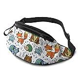 PULLA Riñonera Deportivo Bolso Cintura Cinturón Ajustable Running Belt Bolsa de Correr Woodland Raccon Bear Fox Hedgehog