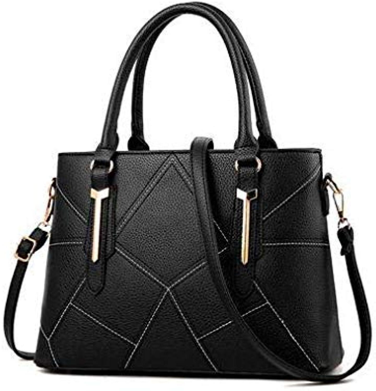 Women Leather Handbags Shoulder Bag Womens Casual Tote Bag Female Patchwork Handbags high Quality sac a Main Ladies Hand Bags E 33X13X24CM