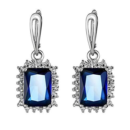 Sweet fresh shiny blue crystal fashion Drop earrings contracted joker elegant geometric square trend Women earrings