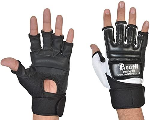Boom Prime, guanti in pelle con inserti in gel, per arti marziali miste, Muay Thai, boxe, Uomo, Black, L