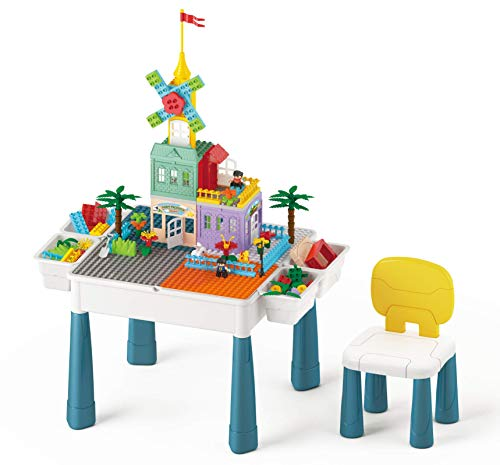Duplo Lego Table for Kids Ages 4-8, Mega Blocks Table with Storage & Chair, Multi Activity Table Set for Toddlers Building, Drawing and Dining, Children Play Table Include 144Pcs Compatible Bricks Toy