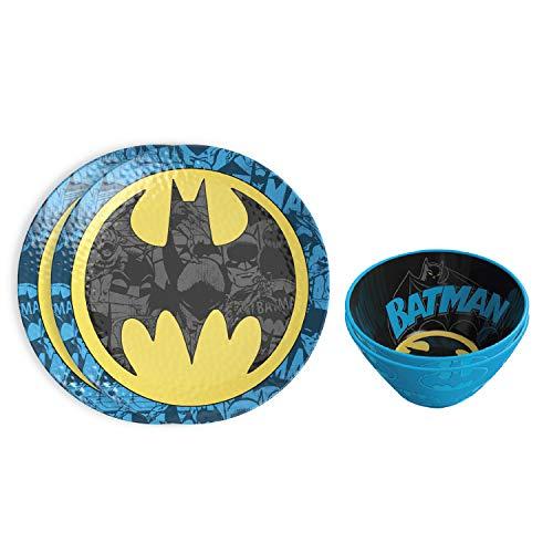 Zak Designs DC Comics Dinnerware Set Includes Embossed Bowls decorative-plates, Batman (4pc)