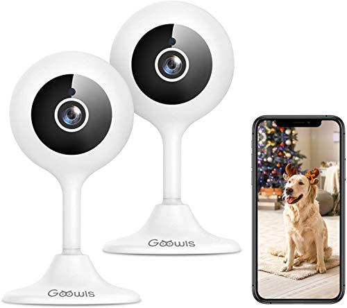 Goowls WLAN IP Kamera, 1080p 2Pcs Überwachungskameras Innen Nachtsicht Babycam Hundekamera, Geräuschmelder, AI Bewegungsmelder, Cloud/SD Card Slot max 128G, App für Smartphone Kompatibel mit Alexa