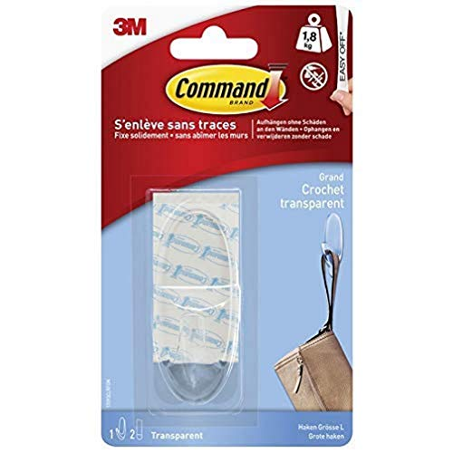 Command 17093CLR Haken L (1800g oval 1 Stück + 2 Streifen) transparent
