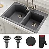 Product Image of the Kraus Forteza 33' Drop-In/Undermount Granite 50/50 Double Bowl Kitchen Sink - Grey (KGD-52GREY)