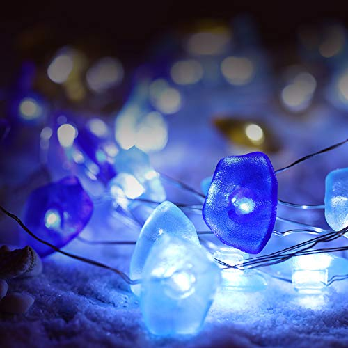 Summer Beach Fairy String Lights 10 ft 40 LEDs, Sea Glass Lights Battery Powered with 8 Modes, Remote and Timer for Birthday Party Wedding Decoration