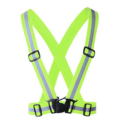 TiaoBug Bandage Protection Dos Lumineux Bande Réglable Harnais Sangle Bretelle pour Protéger Épaule Sports Supports Fitness Maillot de Corps de Sport Vert Fluorescent Taille Unique