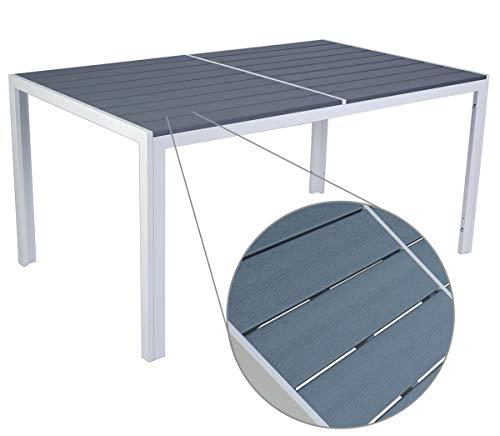 Kozyard Coolmen Outdoor Patio Dining Furniture 36'x59' White Frame Gray Top Table