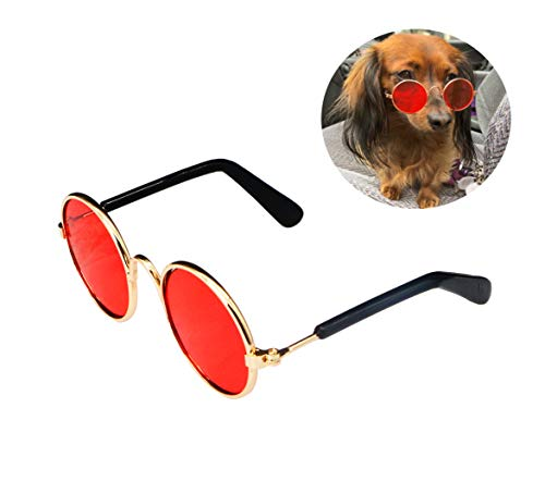 YAODHAOD Pet Dog Cat Gafas de Sol, Classic Retro Round Metal Prince Princess Gafas de Sol Puppy Katie Photo Props Toys (Paquete de 2) (8CM, Rojo)